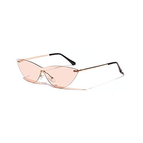 WULE-RYP Polarisierte Sonnenbrille mit UV-Schutz Katzenaugen-Retro-rahmenlose Sonnenbrille, dekorative Modebrille, KOOHUA für Frauen Superleichtes Rahmen-Fischen, das Golf fährt (Farbe : Tawny)