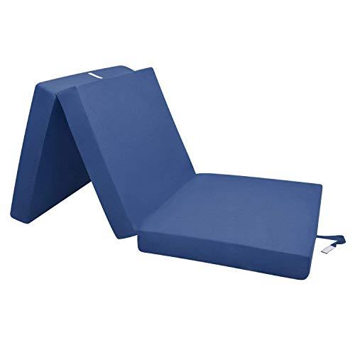 Beautissu materassino campeggio futon pieghevole ospiti campix - 60x190cm - soffice confortevole e funzionale - blu