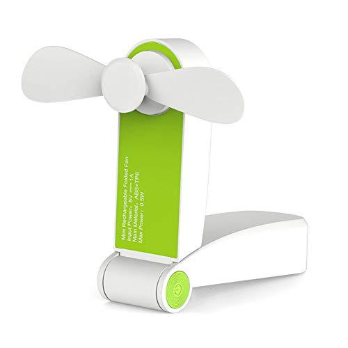Leobtain Einzel/Doppel Kopf Handheld Mini Fan Tragbare Falttasche Fan USB Wiederaufladbare Schreibtisch Falttasche Ventilator Kleine Reisefans für Home Travel Camping -