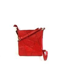 Vanora Tasche 100% Genuine Leather Patchwork Sling Bag - Red