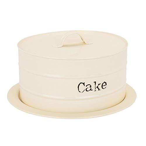 Boîte pour Le Stockage de gâteaux/Cloche à gâteau en métal - pour gâteaux de 220 mm de diamètre Maximum - Couleur crème