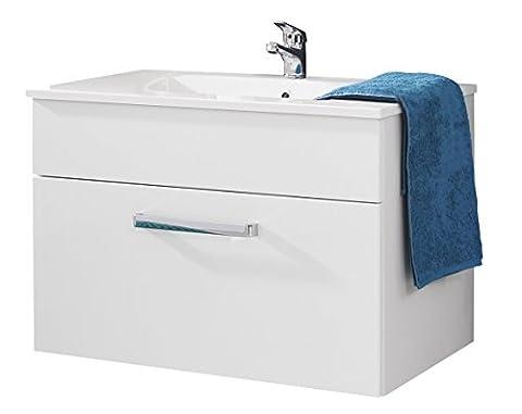 trendteam ADO31101 Hänge-Waschbeckenunterschrank inklusive Waschbecken Weiß Hochglanz, BxHxT 81 x54x46 cm