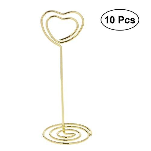 YeahiBaby 10pcs herzförmige Tisch-Kerzenhalter Hochzeit Papier-Clips, Karte mit Ständer (Schwarz)