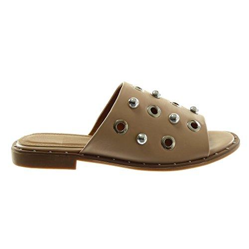 Angkorly Chaussure Mode Sandale Mule Slip-On Femme Perle Clouté Perforée Talon Bloc 2 CM Beige