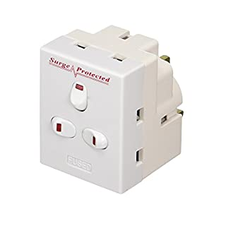 Invero® 3 Way UK Mains Extension Switched 13A Adapter Plug Individually Triple Neon Switched Block Socket Splitter Surge Protected - White
