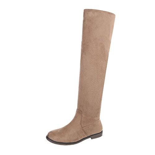 Ital-Design Overknees Damen-Schuhe Overknees Blockabsatz Blockabsatz Reißverschluss Stiefel Hellbraun, Gr 40, 887-Pg-