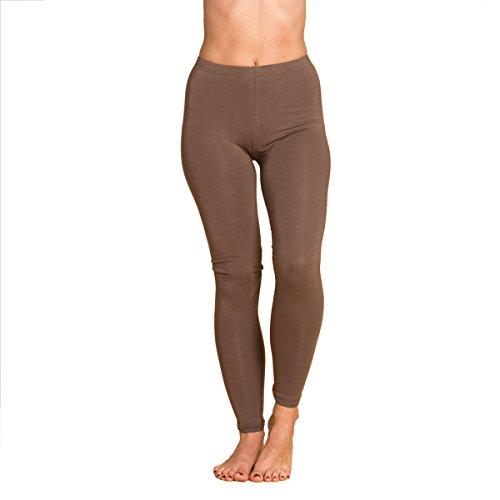 Panasiam® qualitäts Leggings & Tops, aus Naturmaterial, passt M bis L, skinny & stretchy, super wohlfühl Legging U003 brown