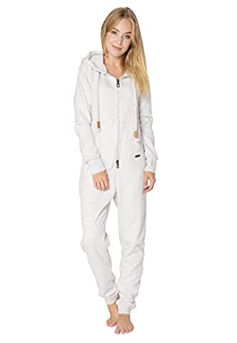 Eight2Nine Damen Sweat Overall | Kuscheliger Jumpsuit | Einteiler aus bequemen Sweat-Material einfarbig light-grey1