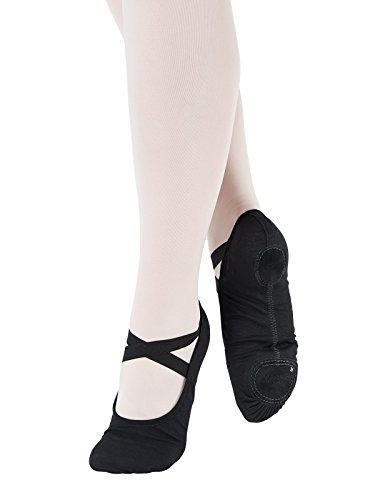 SD120-C Só Dança scarpette per danza classica in Lino ogni tipo di ginnastica sport ballo fitness con suola divisa Ampieza C per piedi normali Nero
