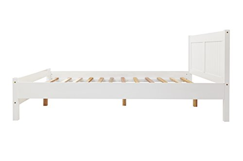 Humza Amani White Rio Bed (Wooden, slatted, stylish bed - Frame Only. Available in 3ft single, 4ft small double and 4ft6 double) (4FT - UK - Small Double)