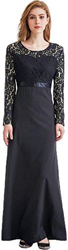 Ababalaya Muslimische Islamische Kleidung Einfarbig Spitze Langarm Abaya Maxikleid für Mutter und Kind Schwarz