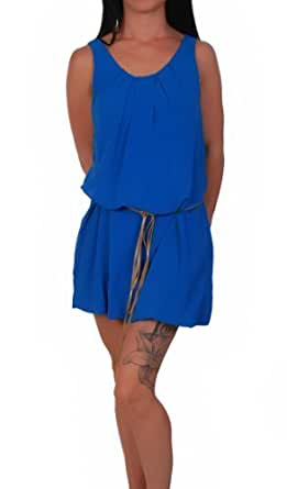 Armfreies Babydoll Sommerkleid im Tunika Stil blau Gr. S/M