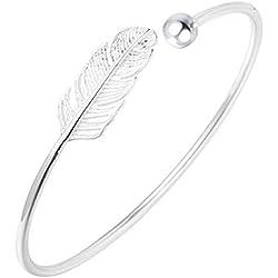 WikiMiu Bracelet Femme en Argent 925, Bracelet Jonc Feuille Ouvert Taille Réglable Style Bohême, Bijoux Fantaisie Cadeau pour Femme Fille pour Anniversaire Noël et Fêtes