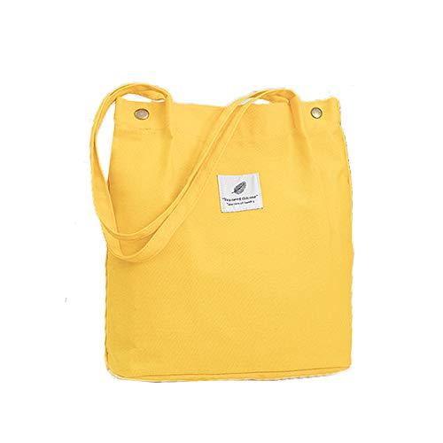 Canvas Umhängetasche Shopper Casual Handtasche groß Chic Schulrucksack für Alltag Büro Schulausflug Einkauf, 38 x 32 x 11cm Gelb ()