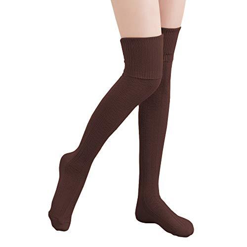HITOP 1 Paar Damen Overknee Überknie Kniestrümpfe Mädchen Hold-up-Strümpfe Retro Schüler Knitting Sportsocken (Kaffee)