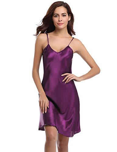 Abollria Damen Nachthemd Sexy Negligee Frau Sommer Nachtwäsche Satin Kleid Lingerie Klassische Bequem Nachtkleid V Ausschnitt Sleepwear Unterwäsche Kollektion Satin-damen-kleid