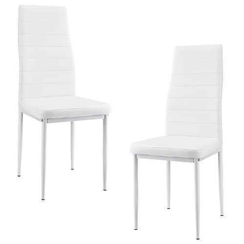 [en.casa] 2 x sillas de comedor (blancas) tapizadas de cuero sintético de alta calidad para comedor / salón / cocina - Set