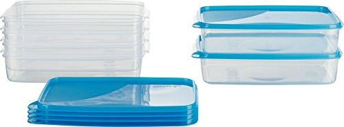MiraHome Frischhaltedose Gefrierbehälter 2l rechteckig flach 28x18x6,5cm 6er Set blau Austrian Quality 2 Liter Dose
