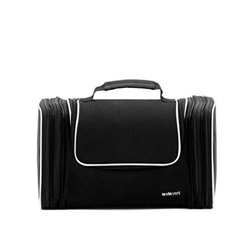 Lavievert Nylon Kulturbeutel Kulturtasche Kosmetiktasche tragbare Waschtasche Geräumige Tasche für Reise (32*14*19 cm) (Schwarz) -