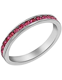 Tuscany Silver Women's Sterling Silver Crystal Channel Set Eternity Stacking Ring