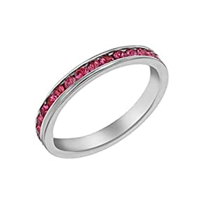 Tuscany Silver Sterling Silver Pink Eternity Stacking Ring - Size L