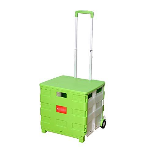 RJLI Rollwagen Folding Boot Cart Heim Einkaufswagen um einen Essenswagen zu kaufen klein Pull Cart faltbar Trolley kann portabel sitzen Rollwagen (Color : Green, Size : 45 * 37 * 98cm)