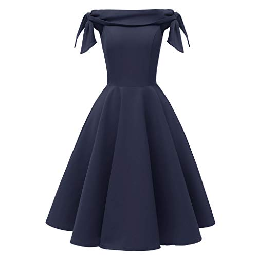 Kostüm Princess Swan - Lazzboy Kleider Für Hochzeitsgäste Festlich Princess Cocktail Frauen Pure Retro Schulter Party Swing Damen Abendkleid Langes Kleid Brautjungfer Ballkleid Schulterfrei(Dunkelblau,XL)