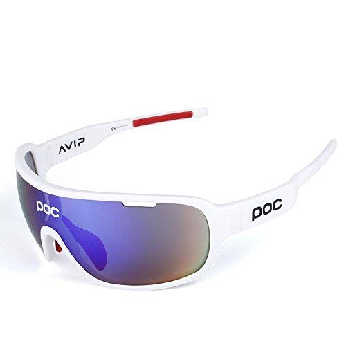 COOLLINE All'aperto equitazione mezza montatura polarizzata occhiali/occhiali da sole sportivi, Go vento e sabbia radiazioni occhiali/compatto, leggero, indossare sensazione di comfort senza peso , white