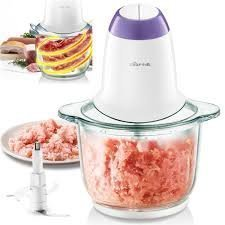 CRAZY KITCHEN Steel and Glass Electric Meat Grinders with Bowl for Kitchen Food Chopper, Meat, Vegetables, Onion Slicer Dicer, Fruit and Nuts Blender