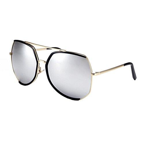 Maxi-Unique Style Flash-Spiegel-Objektiv-Sonnenbrille Eyewear Frauen, Silber