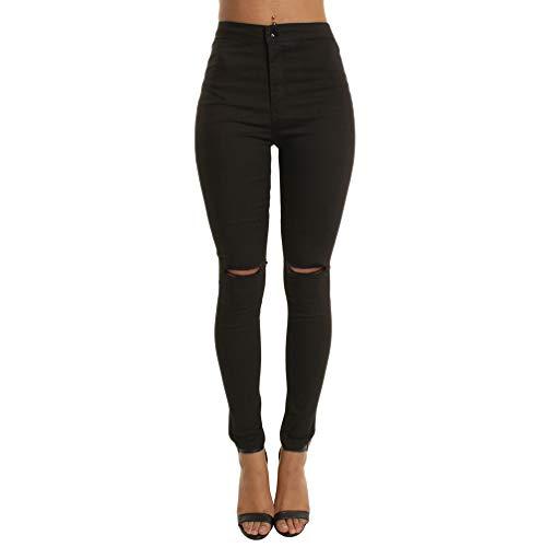 Cayuan donna strappati jeans pantaloni a vita alta skinny elastico denim pantaloni jeans leggings pantalone a matita casuale nero