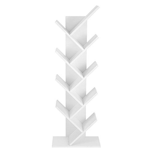 VASAGLE Bücherregal, 8 Ebenen, Baumform, Standregal, CD Regal aus Holz für Wohnzimmer, Büro, Weiß LBC11WTV1 -