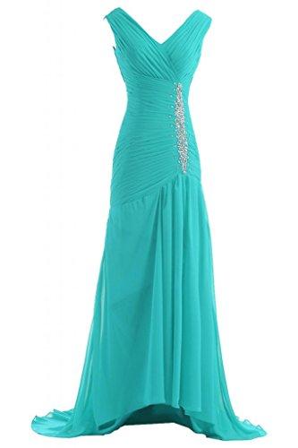 Victory bridal tendance col en v avec perles et pierres abendkleider promkleider partykleider brautjungfernkleider en chiffon Turquoise