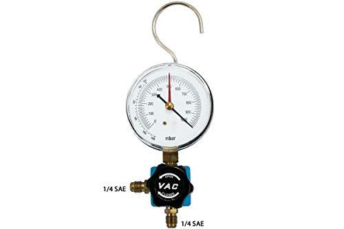 Klimaanlage Split Vakuum Manometer 1/4 SAE - 1/4 SAE Rohrfedermanometer 80mm -