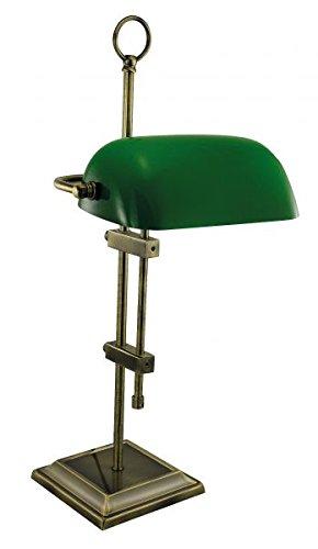 Bankers-Lampe Messing antik mit grünem Glasschirm, 230V, E27, 60W, H: 55cm