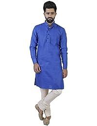 Veera Paridhaan Men's Casual&Partywear Cotton Plain Full Sleeves Kurta