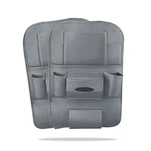 Ergocar 2 Packs Pu Leder Auto Organisatoren Rücksitz Schutz Abdeckung Kick Matte Auto Rücksitz Organisator Mit 10 1 Ipad Tablet Halter Multi Taschen Einschließlich Tissue Box Grau Baby