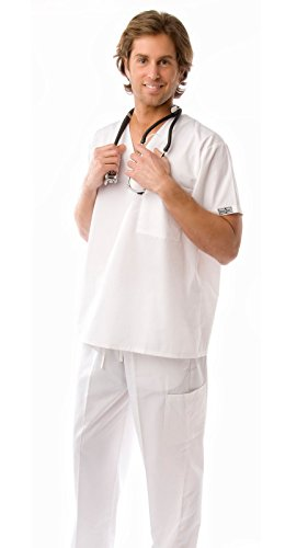 Men's Lightweight 6 Pocket Classic Uniform Scrubs White / - White Scrub-jacke