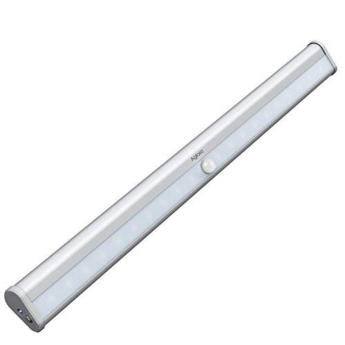 Aglaia Luz Armario 20 LEDs con Sensor de Movimiento, Barra de Luces con Banda Magnética, USB Recargable con Batería Incorporada 1000mAh