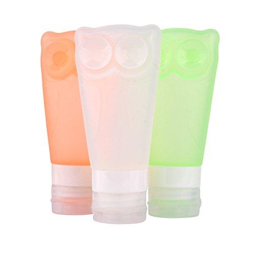 3�pz/lotto set di bottiglie di viaggio in silicone, Owl vuote ricaricabili Squeezable Travel con ve