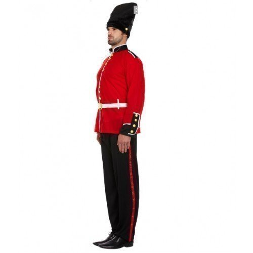 Erwachsene Herren rot schwarz London Tschako Wache Soldaten Armee Kostüm Kleid Outfit