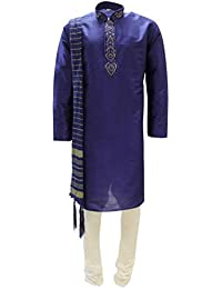 a14b7c66a0 Sonisha MKP9007 Blue and Ivory Men's Kurta Pyjama Indian Suit Bollywood  Sherwani