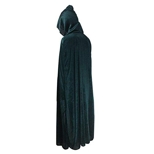 Kostüm Cape Green - Halloween Kostüm Unisex Erwachsener Mit Kapuze Hexe Wizard Vampire Mantel Cosplay Kostüm Cape Robe Haunted House Party,Schwarzdark Green-One Size