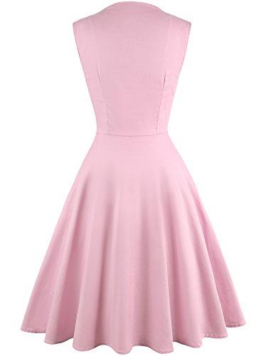 OWIN Damen Polka Dot Retro Vintage 50er Jahre Rockabilly Cocktailparty Swing Kleid Hellrosa