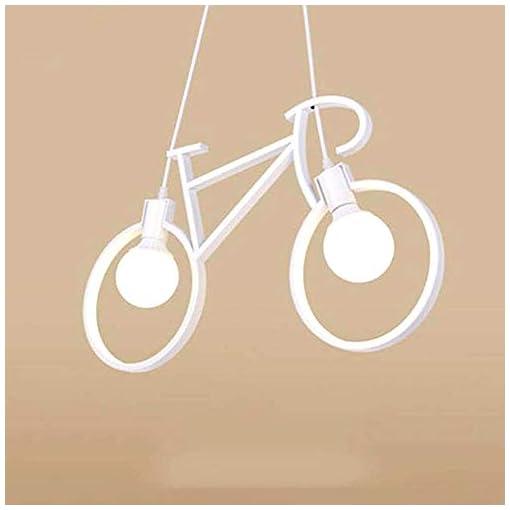 Lampadario a sospensione, a forma di bicicletta dal design moderno – Attacco 2xE27 (Bianco)