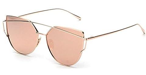 Elinka Women Fashion Twin-Beams Classic Metal Frame Mirror Sunglasses Cat Eye Glasses (Rose Gold)