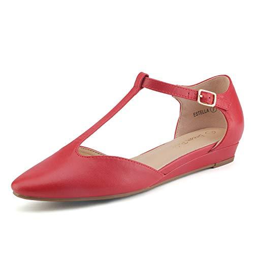 Dream Pairs Estella Zapatos Planos Bailarina para Mujer Rojo 39 EU/8 US