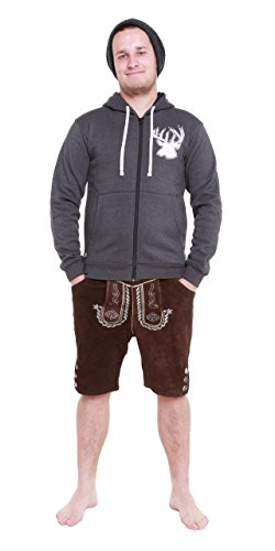 Herren Trachten Hoodie Jacke Sweater Kapuzenjacke Pullover Hirschapplikation (L)