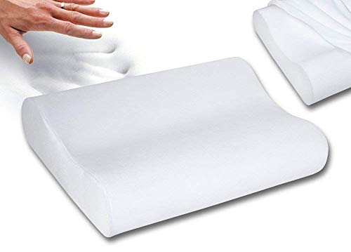 Qualimate Memory Foam Pillow Cervical Pillow for Neck Pain Orthopedic Contour Medical Pillow Support for Back, Stomach, Side Sleepers, Anti-Snoring Relief Neck Pillow, Anti-Allergy, Pillow for Pain Relief