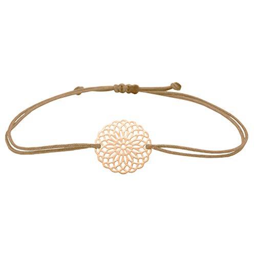 Imagen de pulsera de macramé con flor de mandala en oro rosado, estilo bohemio, pulsera de la suerte